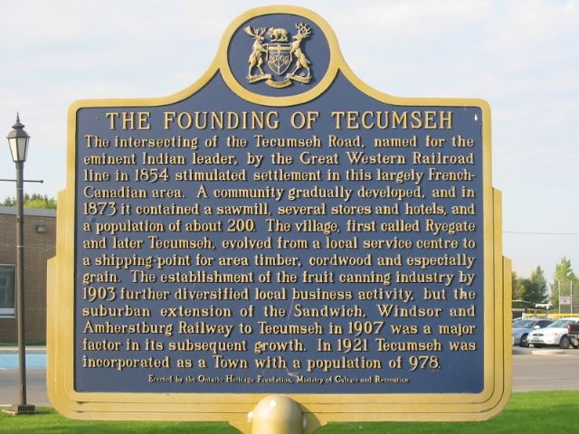 the founding of tecumseh ontario